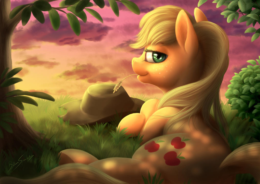 Applejack at sunset by blueSpaceling