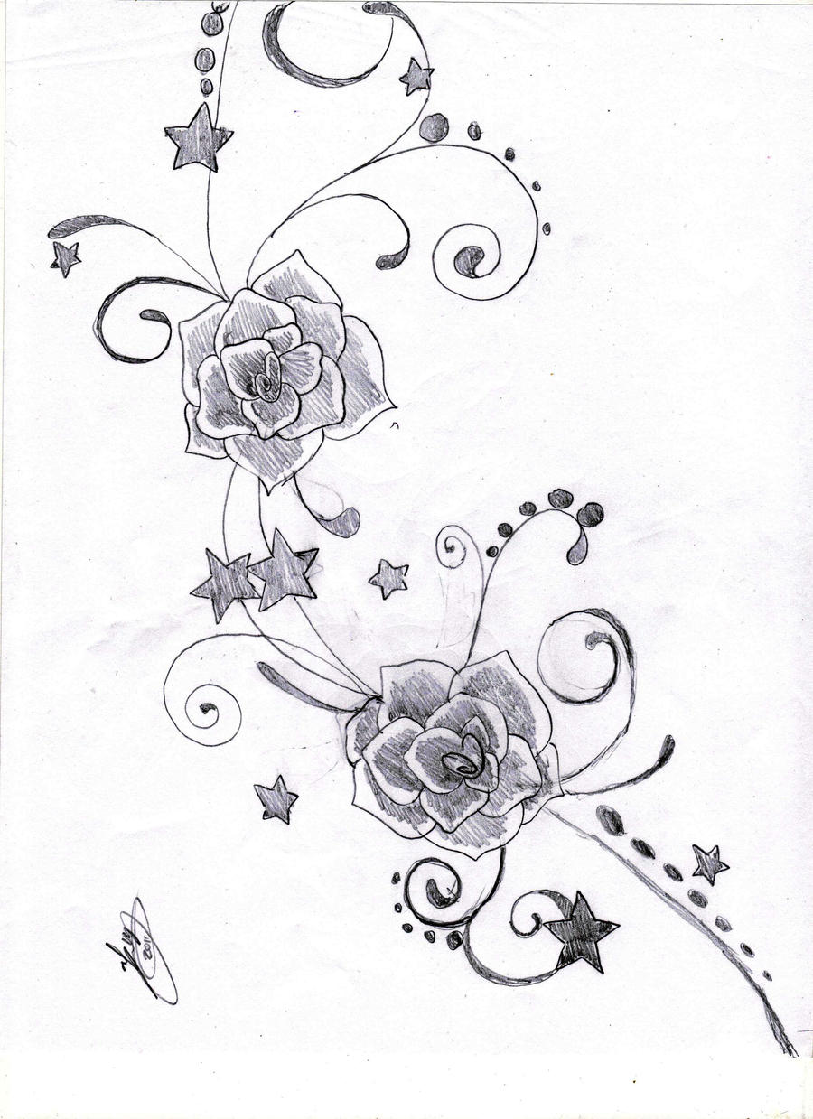 Star Flower Drawing Stars And Flowers Hearts And