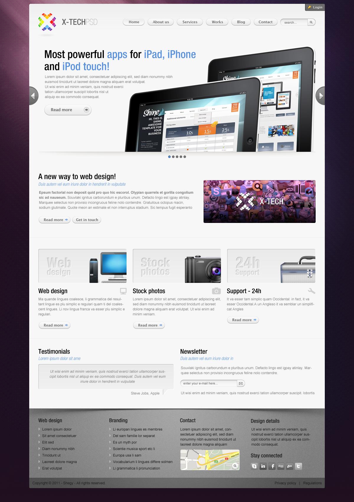 X-Tech Premium Psd template by Shegystudio