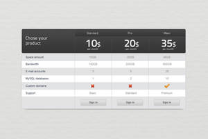 Pricing table by Shegystudio