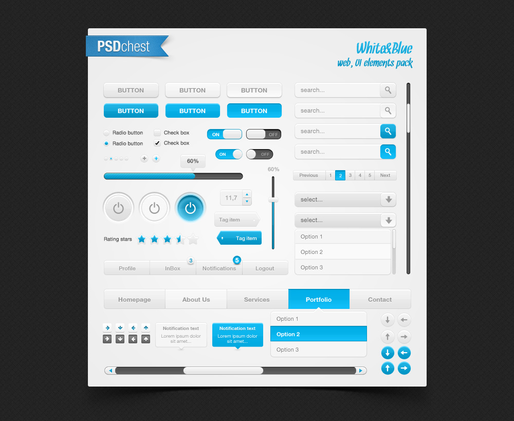 White blue web,ui elements pac by Shegystudio