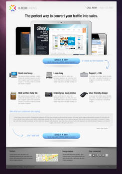 xtech landing page free psd