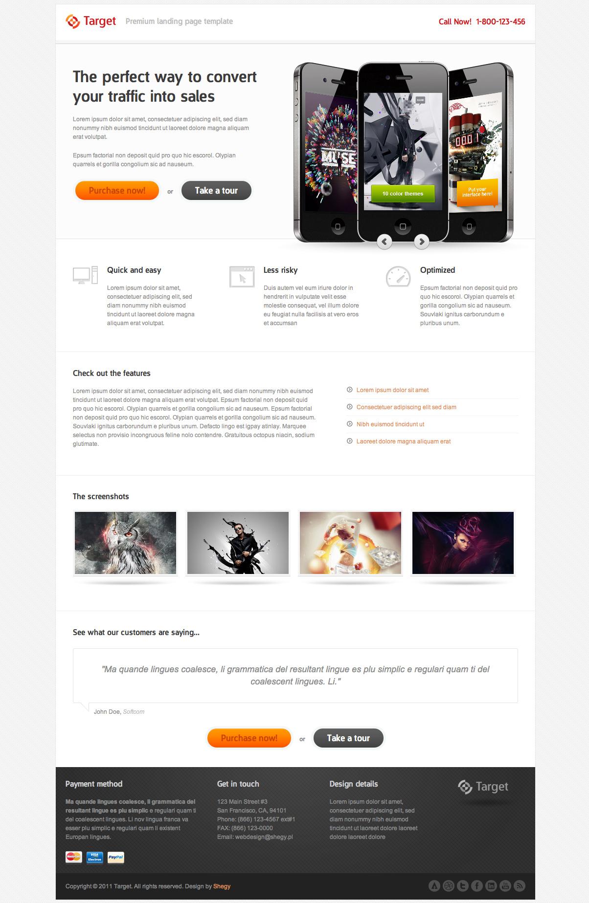 Target landign page free psd