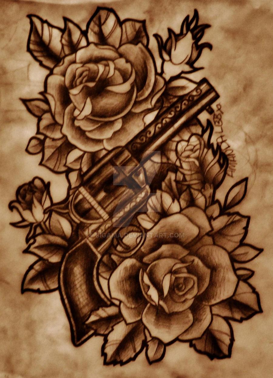 gun with roses by bigama on deviantart. Black Bedroom Furniture Sets. Home Design Ideas
