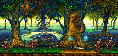 Elven forest. Pixel art graphics for the game