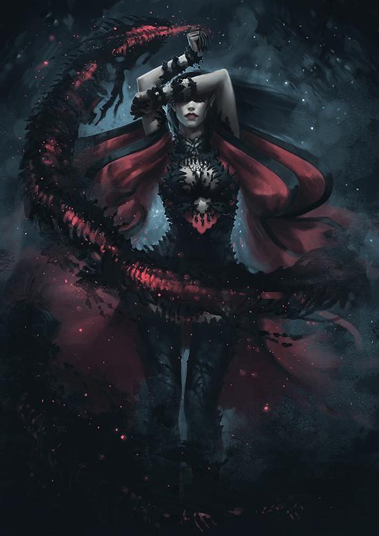 Dark Elf Summoner - Concept 5 by Arsinoes