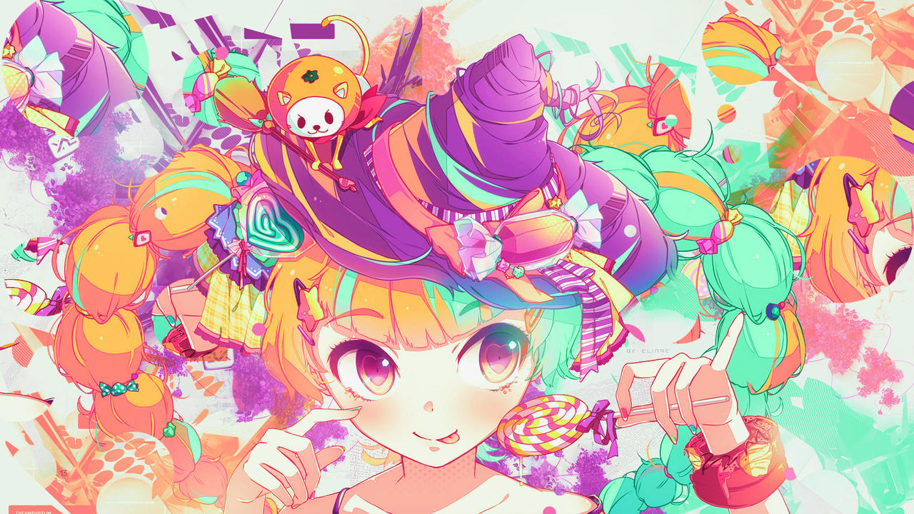 wallpaper colorful kawaii witch and sweet by nagamii chan