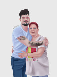 Commission - coworker and his mother