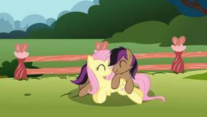 Stellar Eclipse and Fluttershy Cuddling