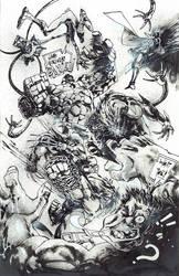 Heroes vs Vilains ink by Panagiotis Vlamis by weaselpa