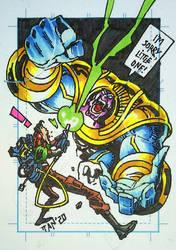 Thanos vs Venkman sketch card by Panagiotis Vlamis