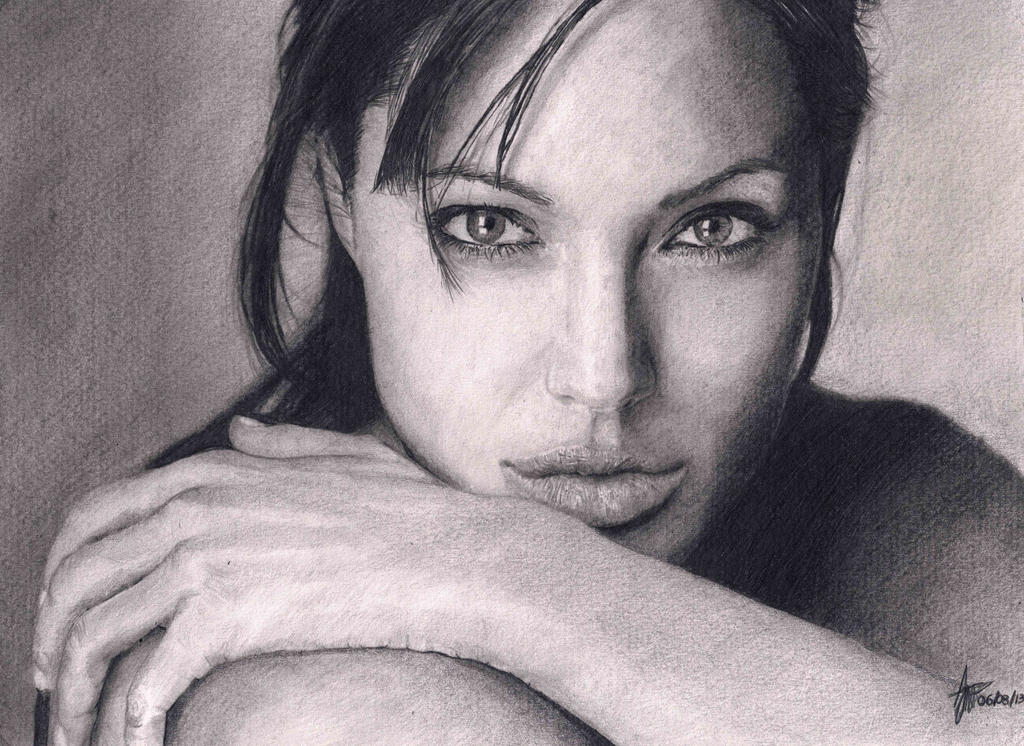Angelina jolie realistic pencil drawing by agothbr