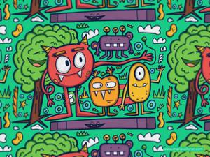 Monstrous doodle pattern by KellerAC