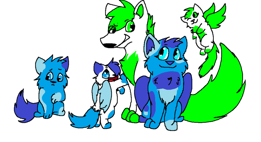 Glare and Firecracker's pup's and kit. by Obsidianthewolf