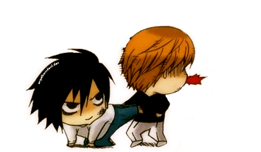 L Lawliet Kicks Light (Deathnote, Chibi) by angelborndevil ...