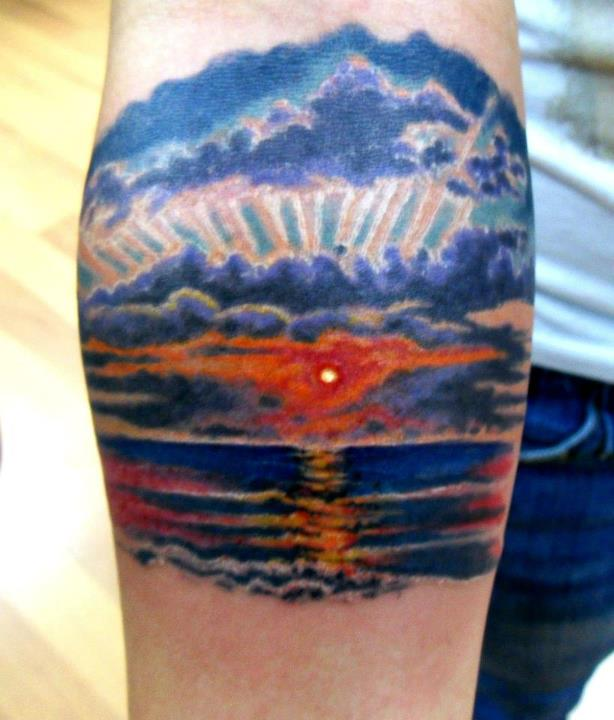 Beach sunset by rip the heart out on deviantart for Beach sunset tattoos