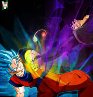 Goku VS Goku Black by ElvtrKai