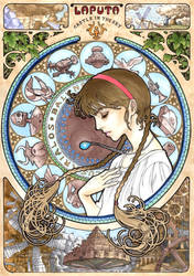 Castle In The Sky  Mucha style by T-A-K-U-M-I-28