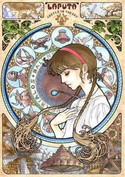 Castle In The Sky  Mucha style