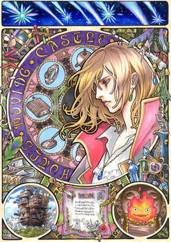 Howl's Moving Castle  Mucha style