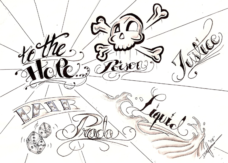 Tattoo flash font embedding
