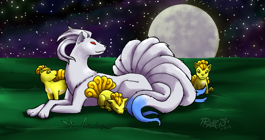 Shiny Ninetails with Vulpixes by cactuarZrule