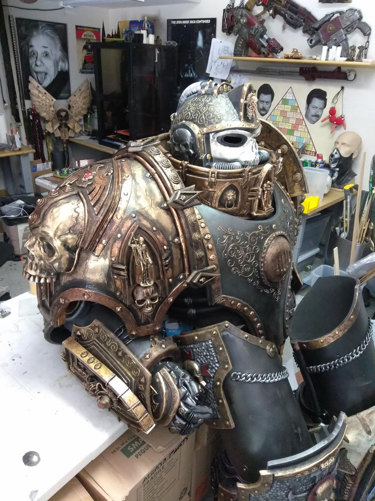 Black Templar Chaplain WIP (Right Pauldron) by Bag-of-hammers