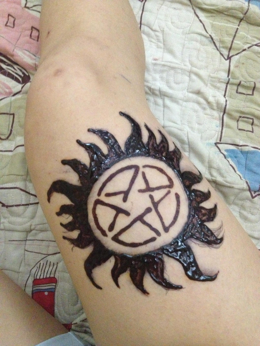 Anti possession henna indian ink tattoo by for Indian ink tattoo