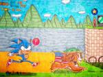Sonic vs Super lady speed race (Remake!)