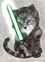 Jedi Cat by LordOrenamus