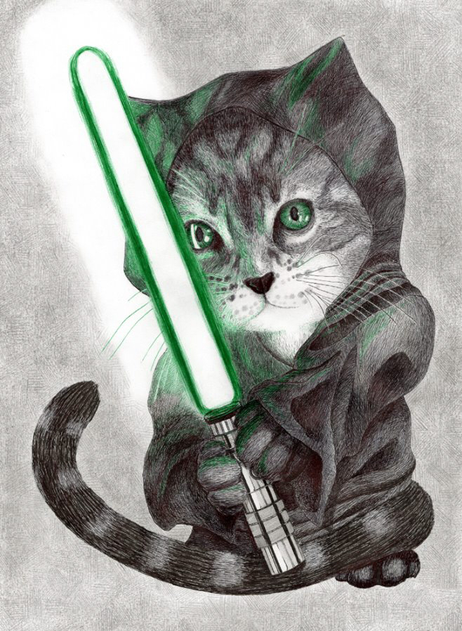 Jedi Cat by LordOrenamus