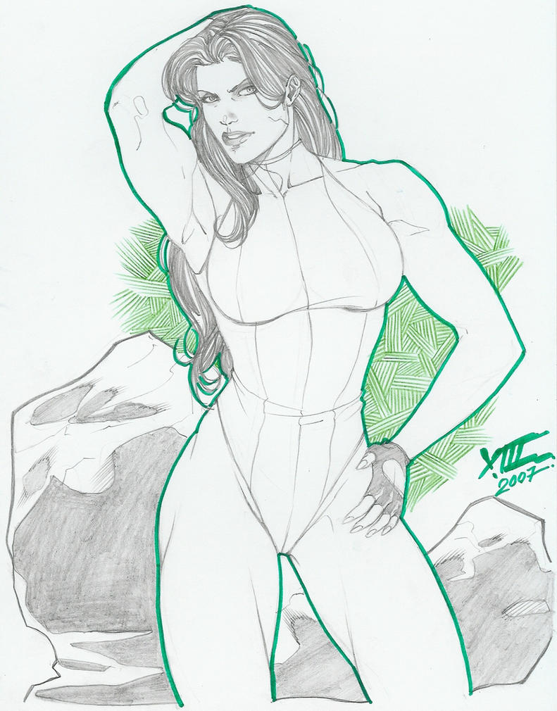 She-Hulk pinup by LuisXIII by zefly88