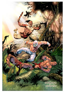 pelea en la selva con color