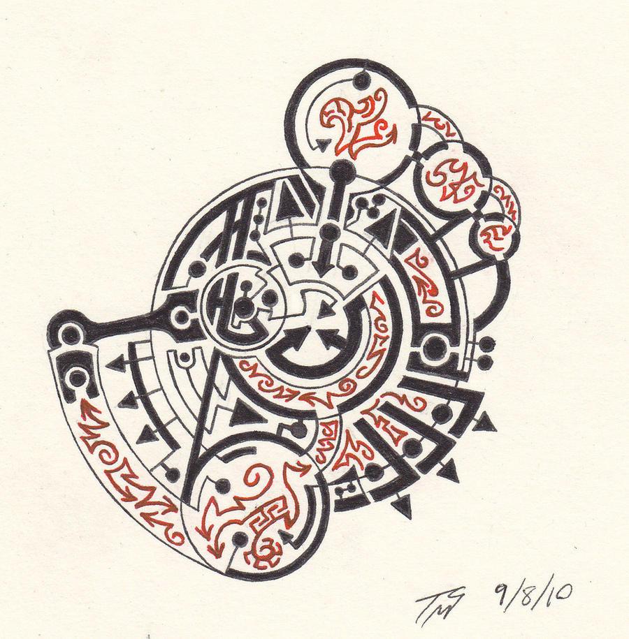 Technomancy circle prototype by tyxerus on deviantart for Circular symbols tattoos