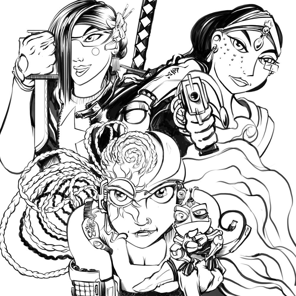 Cyber Punk Princesses (sketch) by BDStevens on DeviantArt