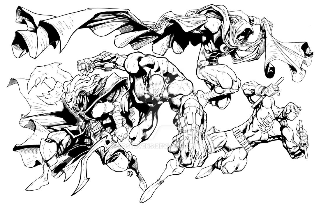 Line Art Marvel : Glyph and the marvel knights by bdstevens on deviantart