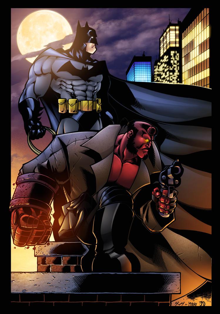 Batman and Hellboy print by BDStevens