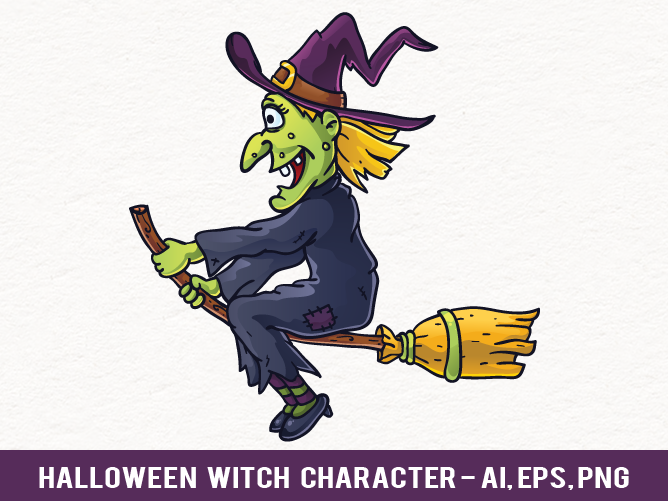 Cartoon Character Design Vector : Free halloween witch vector character by pixaroma on