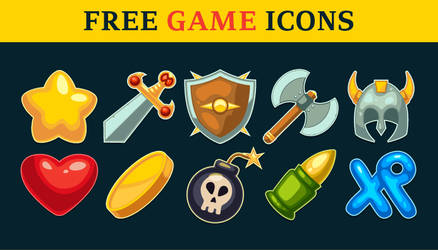 Free Action Game Icons Set