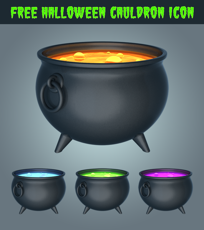 Free Halloween Cauldron Icon 3D by pixaroma on DeviantArt