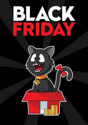Free black friday cat by pixaroma