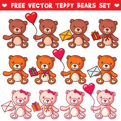 Free Vector Teddy Bears Set by pixaroma
