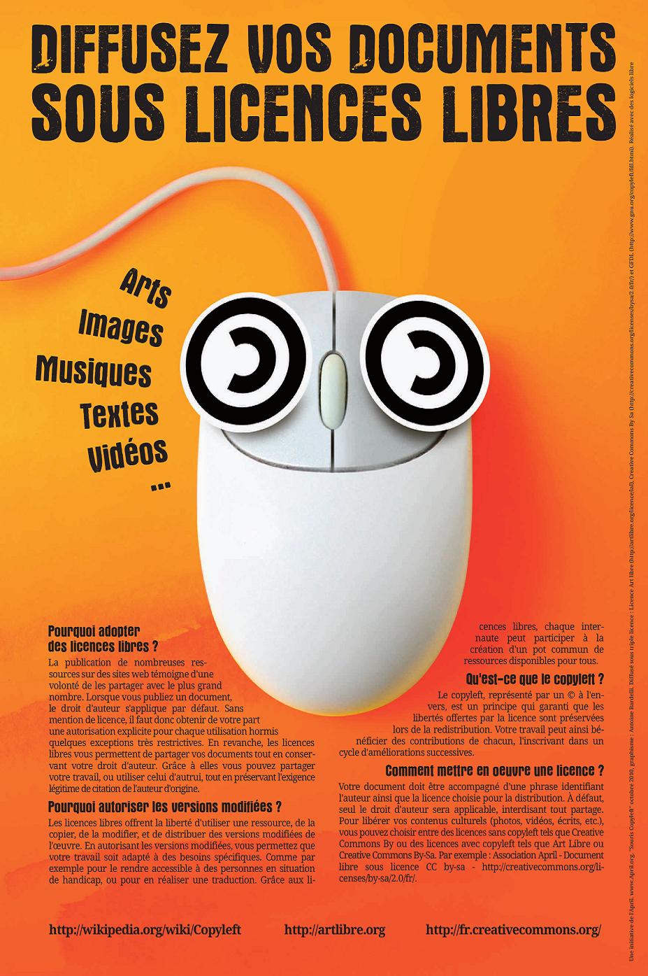 composition d'une affiche pour la diffusion de documents sous licence libre. www.april.org / graphisme : Antoine Bardelli, 2010