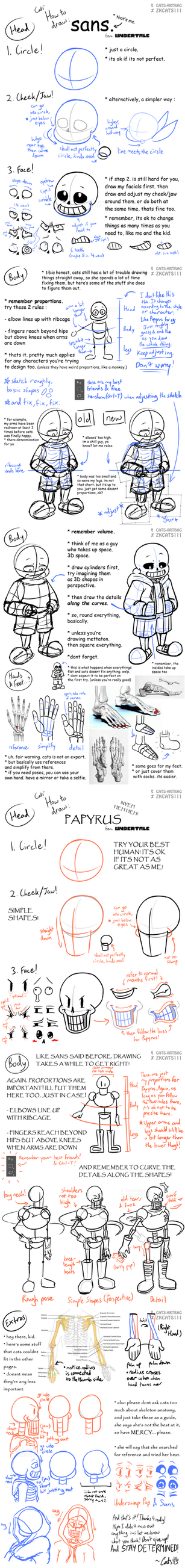 .: TUTORIAL : Drawing Sans and Papyrus :. by ZKCats111