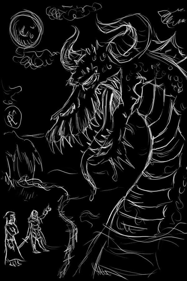 Black Dragon sketch by XantheStar