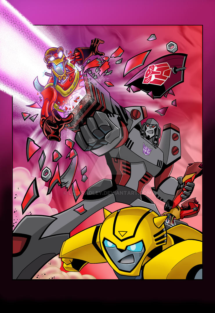 TRANSFORMERS ANIMATED UK ISSUE 5, SPLASH PAGE! by leebradley