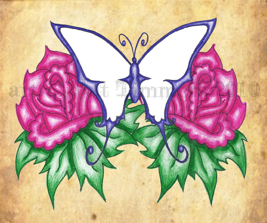 Butterfly and roses | Flower Tattoo