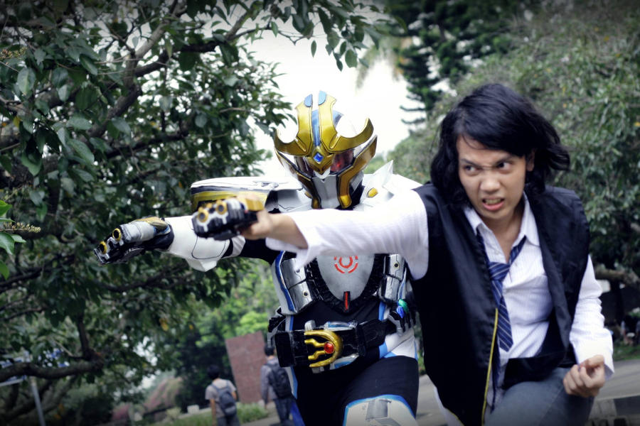 nago-san with alter ego Kamen rider IXA by keytaros