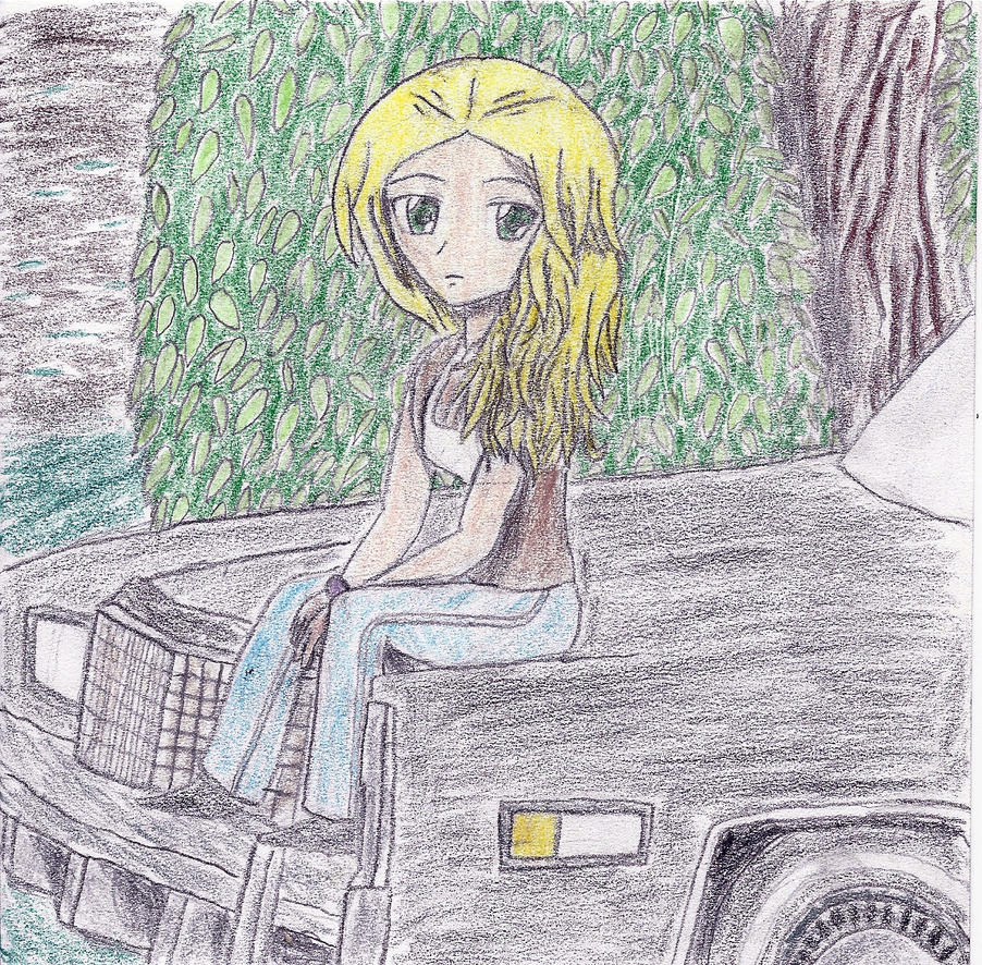 a girl sitting the hood of the car by JofDragon