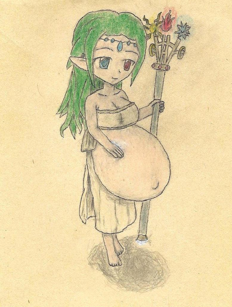 pregnant elf by JofDragon